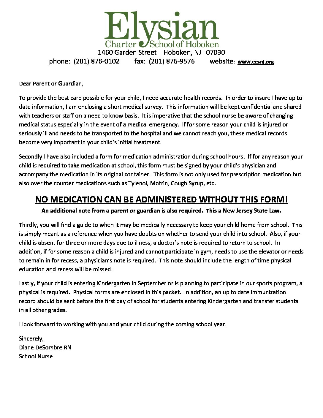 sports physical form new jersey  Medication Administration Letter & Form – Elysian Charter School