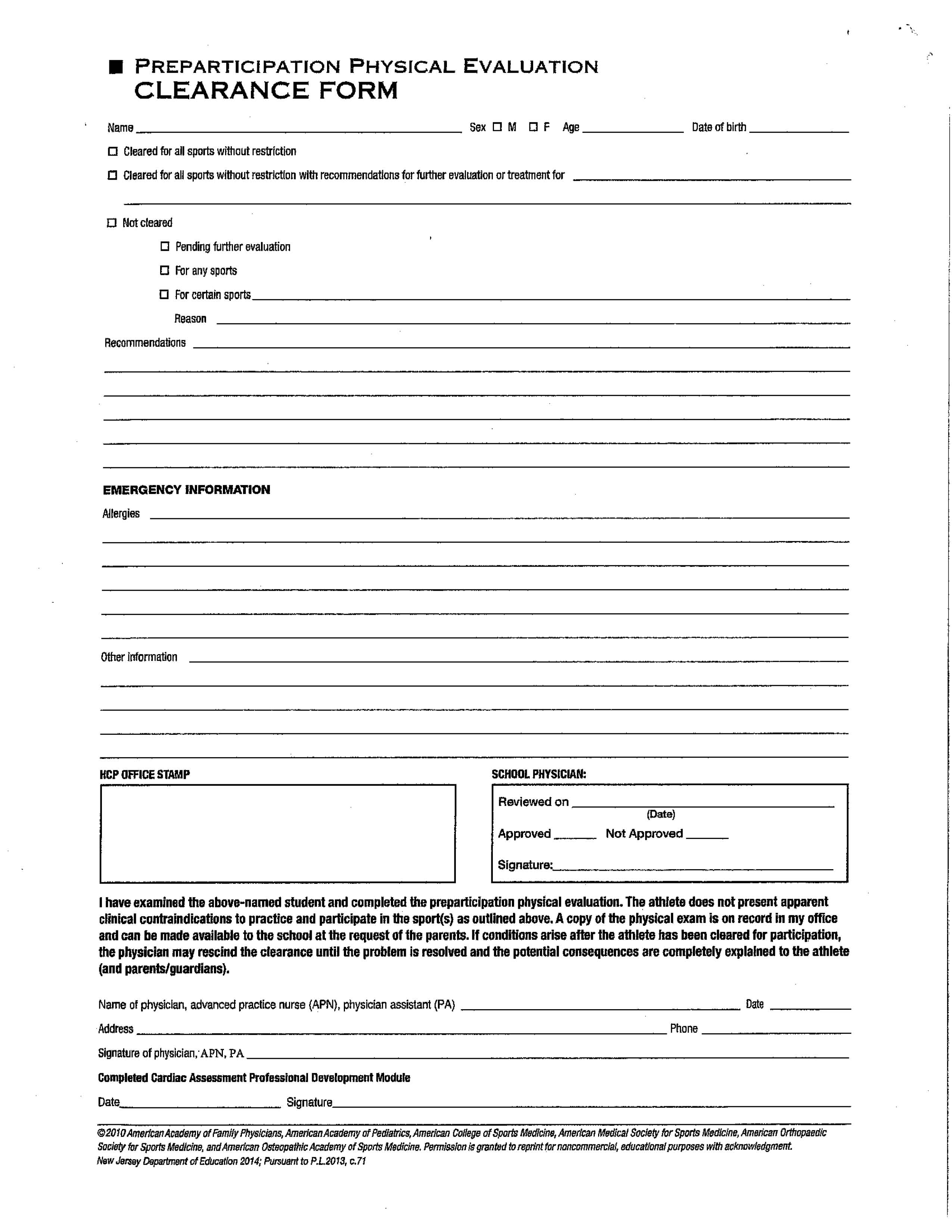 sports physical form 2018  Clearance and Physical Examination Forms – Elysian Charter ...